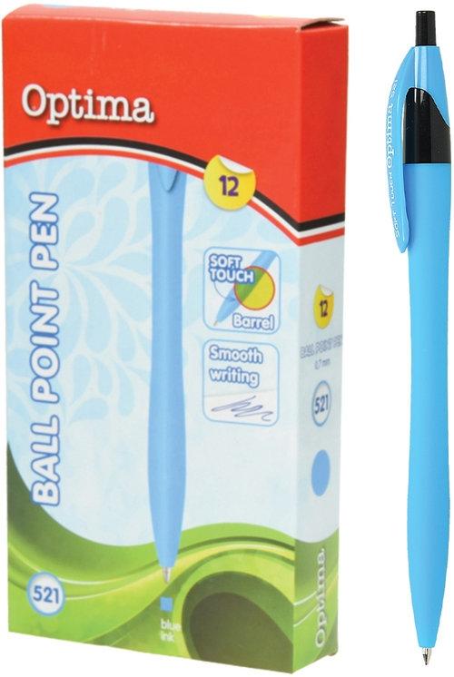 Długopis OPTIMA Soft Touch 521 błękitny 12 sztuk