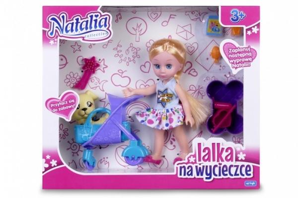 Lalka Natalia z pieskiem w wózku (120398b)