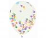 Balon gumowy Godan transparentne, kolorowe konfetti, 30 cm, 4 szt. (H12/TK4)