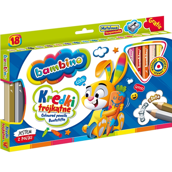 Kredki ołówkowe trójkątne Bambino, 18 kolorów