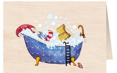 Karnet drewniany C6 + koperta Kobieta w kąpieli