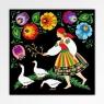 Czarny magnes - łowiczanka z gąskami - kwiaty ludowe