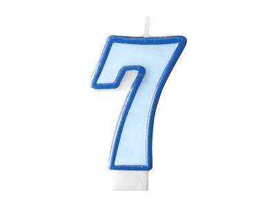 Świeczka urodzinowa Partydeco Cyferka 7 w kolorze niebieskim 7 centymetrów (SCU1-7-001)
