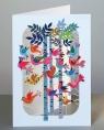Karnet PM223 wycinany +koperta Ptaszki na drzewach