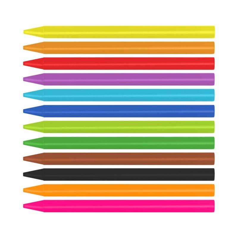 Kredki świecowe MILAN PLASTIPASTEL, 12 kolorów w kartonowym opakowaniu (022R12)