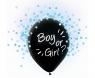 Balon gumowy Godan Boy Or Girl, niebieskie konfetti, 12 cali, 4 szt. czarna 12cal (H12/BGN4)