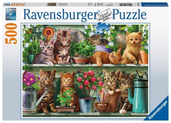 Puzzle 500 elementów - Koty na półce (148240)