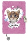 Pamiętnik z kłódką 3D włochacz A5, 96 kartek Kot Pink