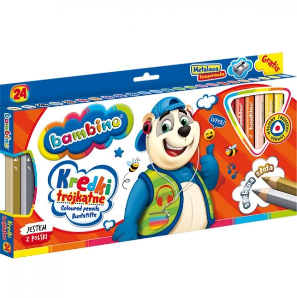 Kredki trójkątne Bambino w oprawie drewnianej 24 kolory + temperówka