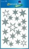 Dekoracje okien małe gwiazdy świąteczne srebrne