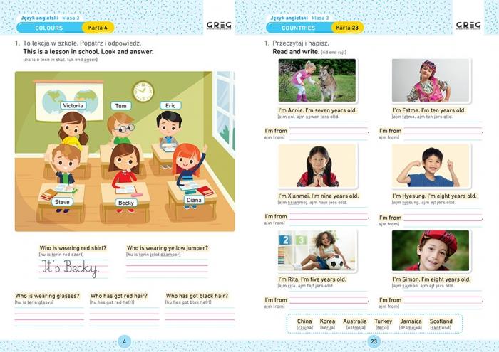 Język angielski. Karty pracy w szkole i w domu - klasa 3 Zespół redakcyjny Wydawnictwa GREG