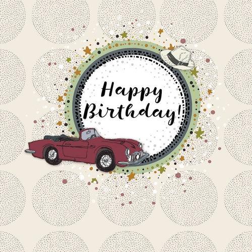 Karnet Swarovski kwadrat Urodziny samochód