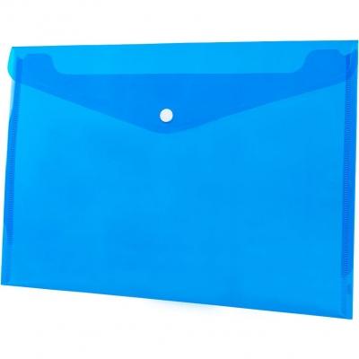 Teczka/koperta plastikowa na guzik Tetis A4 - niebieska (BT611-N)