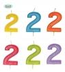 Brokatowa cyfra 2 świeczka na tort 4cm Mix kolorów