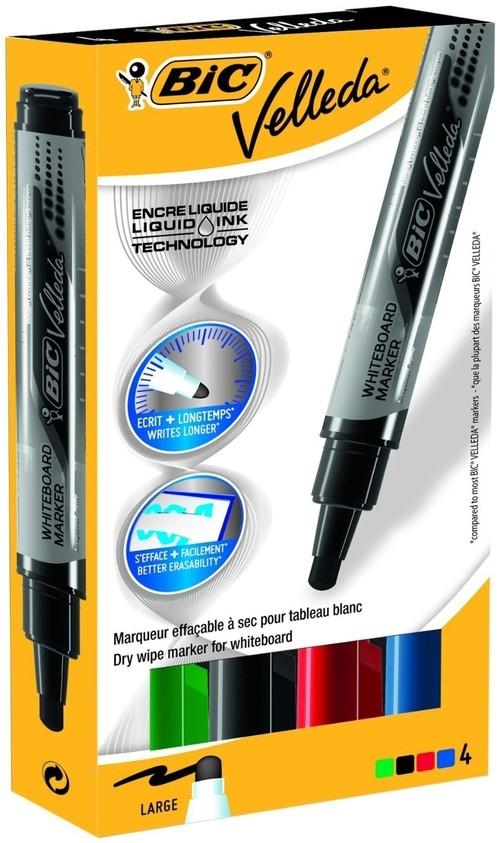 Marker suchościeralny Velleda Liquid Ink mix kolorów 4 sztuki