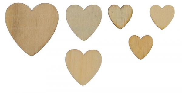 Ozdoba drewniana Titanum Craft-fun serca drewniane naturalny 120 szt