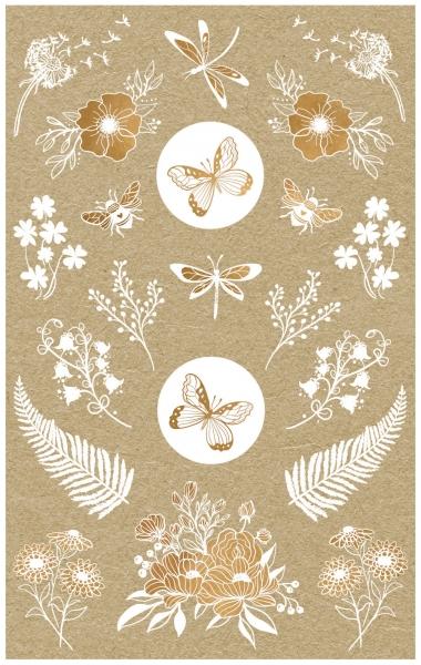 Naklejki papierowe - kwiaty i owady (57124)