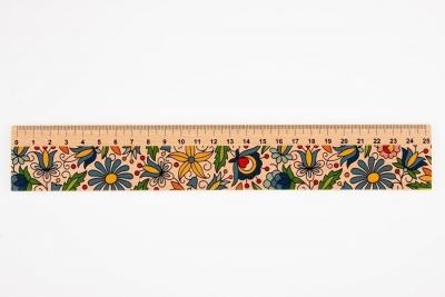Linijka drewniana 25 cm kaszubska FOLKSTAR