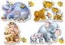 Puzzle konturowe 4w1 Zwierzęta z dżungli
