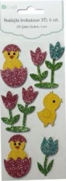 Naklejki brokatowe 3D - kurczaczki w jajku i tulipany, 6 szt.