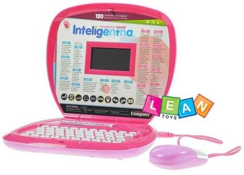 Laptop edukacyjny 120 zadań polsko - angielski, różowy