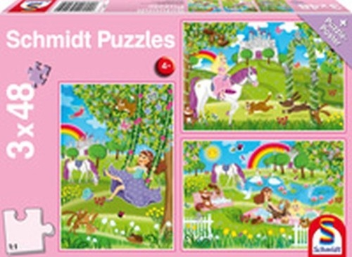 Puzzle 3x48 Księżniczki w ogrodzie