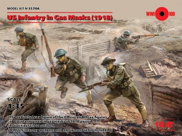 US Infantry in Gas Masks 1918 4 figures (35704)