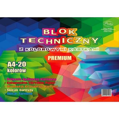Blok techniczny Protos kolor A4 mix 160g 20k