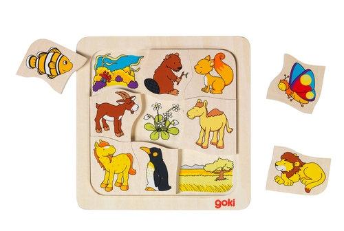 Drewniane puzzle Gdzie mieszkają zwierzątka? (56725)