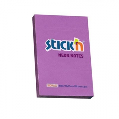 Notes samoprzylepny 76x51mm neon fioletowy