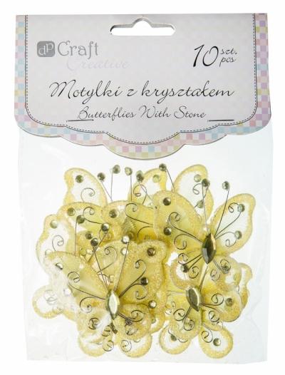 Motylki z kryształem 5 cm 10 szt, Yellow CEOZ-006