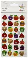 Naklejki wypukłe emotikony owoce, warzywa