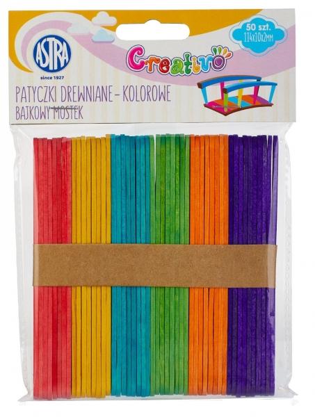 Patyczki drewniane kolorowe 50 sztuk - bajkowy mostek (335119022)