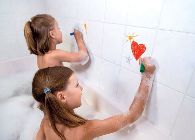 Kredki do kąpieli 6 kolorów z gąbką (J04725)