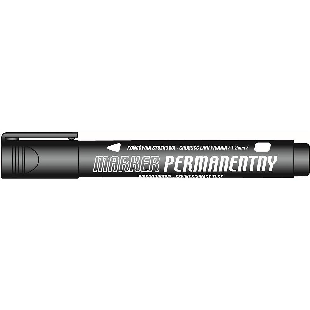 Marker permanentny Tetis, 1-2 mm, 12 szt. - czarny (KM102-VO)
