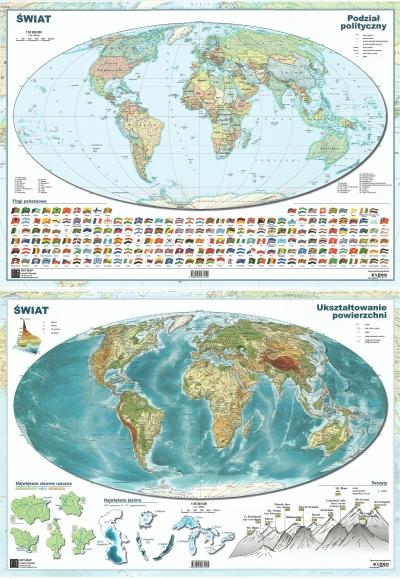 Mapa Świata A2 ukształtowanie powierzchni/polityczna dwustronna ścienna .
