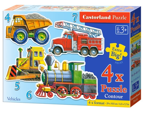 Puzzle konturowe 4w1: Vehicles (04256)