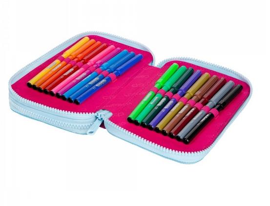 Coolpack Jumper 2, piórnik podwójny - Pink Scribble (D066340)