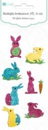 Naklejki brokatowe 3D - króliczki, 8 szt.