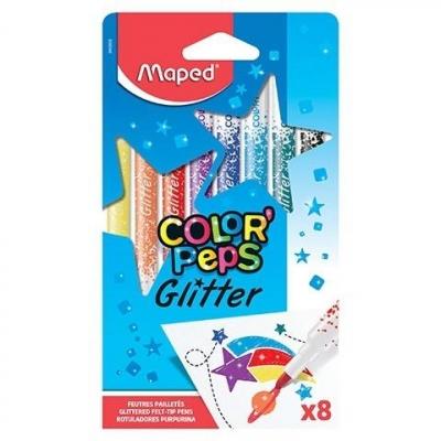 Flamastry brokatowe 8 kolorów MAPED