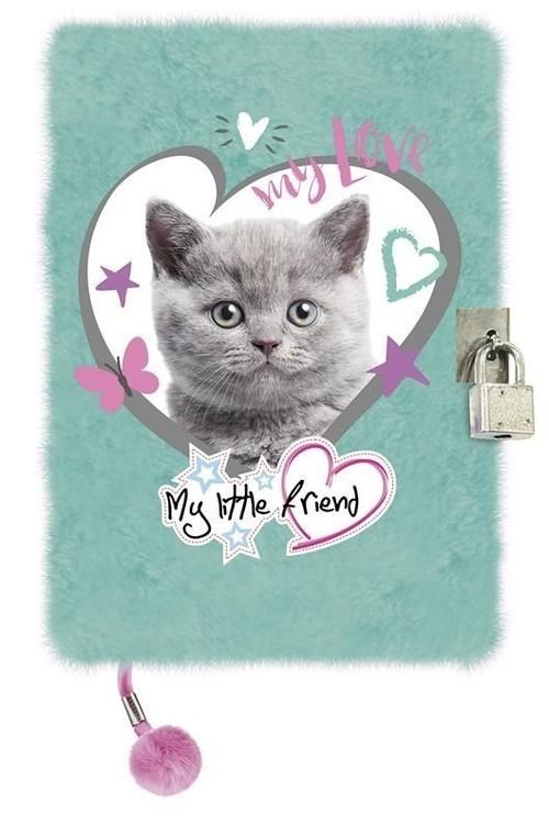 Pamiętnik z kłódką włochacz A5, 96 kartek CAT MINT