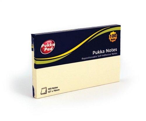 Karteczki samoprzylepne Pukka Pad 127x76mm 100 sztuk kolor żółty (6725-NTS)