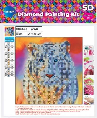 Mozaika diamentowa 5D 20x20cm Tiger 89625