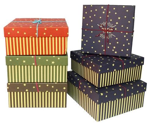 Zestaw pudełek - kwadrat  paski-gwiazdki 3 sztuki czerwony