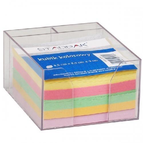 Kubik plastikowy kolorowe karteczki 85x85mm (154144)