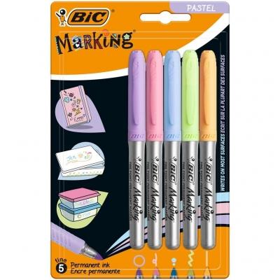 Marker Marking Pastel permamentny 5 kolorów BIC