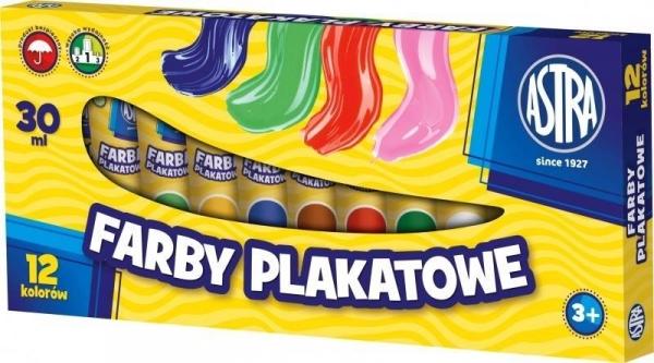 Farby plakatowe Astra w tubach, 12 kolorów x 30ml (5941)