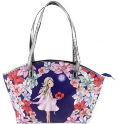 Curved Shopper Bag - Midnight Garden
