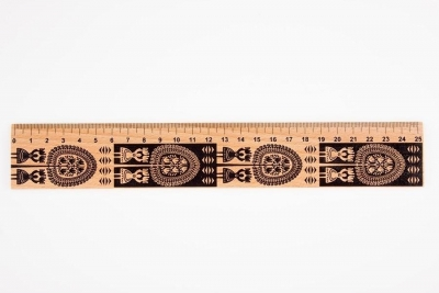 Linijka drewniana 20 cm kurpiowska FOLKSTAR