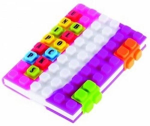 Notes silikonowy A6 Unipap Blocks w kratkę 100 kartek różowo-biało-fioletowy